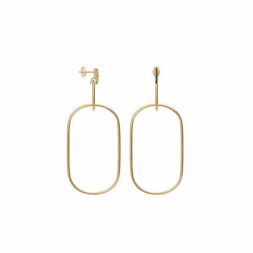 Large gold model ring earrings olga set with black zircons 3