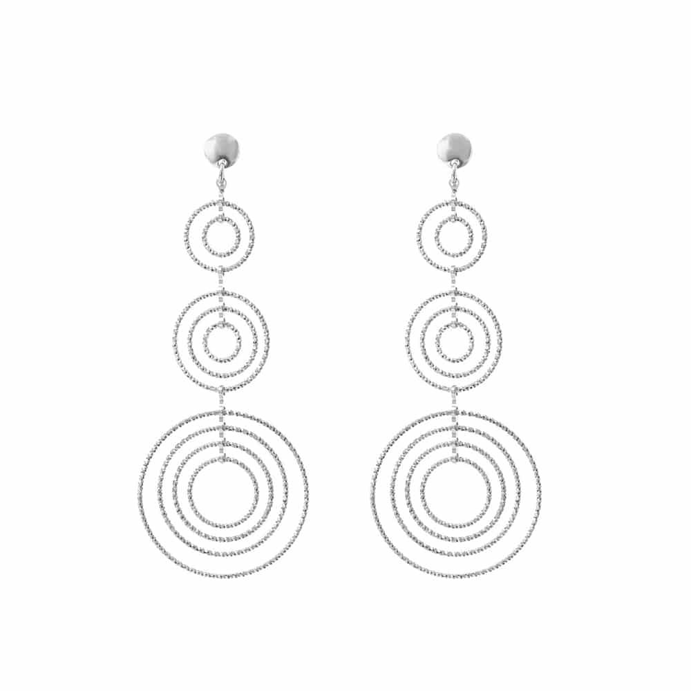 Boucles d'oreilles argent diamanté martina triple cercles 3