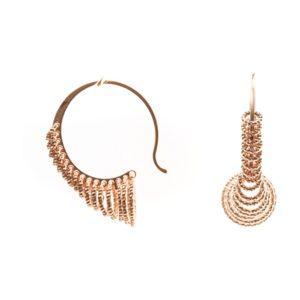 Boucles d'oreilles argent 3D tourbillon rose 4