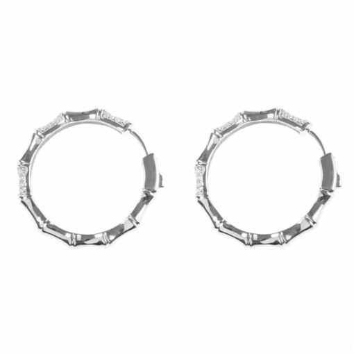 Sparkling bamboo silver earrings 3