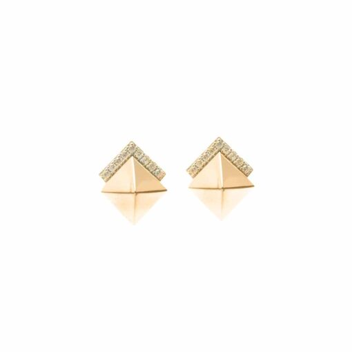 Pointed square silver earrings set with gold 3