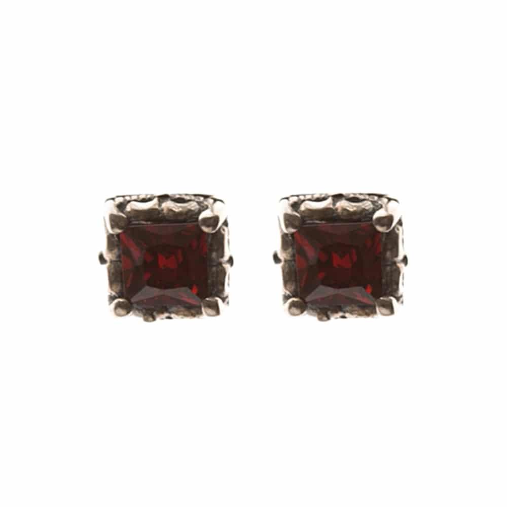 Boucles d'oreilles argent carré royal rouge 3