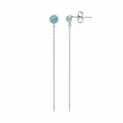 Boucles d'oreilles argent chaine rhodié et pierre turquoise 4
