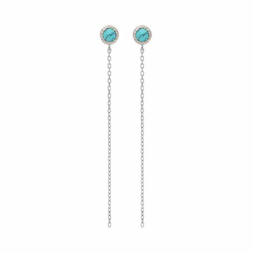 Boucles d'oreilles argent chaine rhodié et pierre turquoise 3