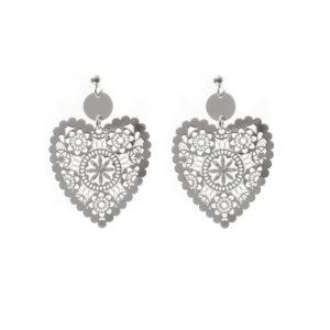 镀铑类钻石珐琅银心形耳环5