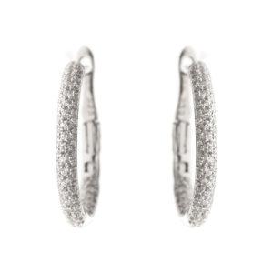 银圈耳环,半镶铑3