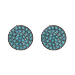 黑银耳环纪念章镶有绿松石2