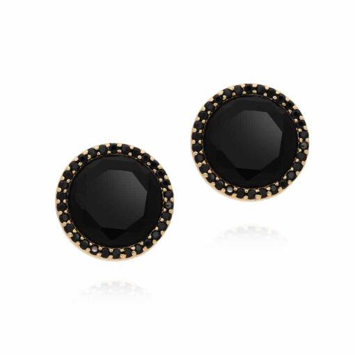 Earrings silver gold black disc 4