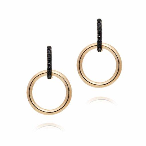 Boucles d'oreilles argent doré élise sertie de zirconiums noir 4