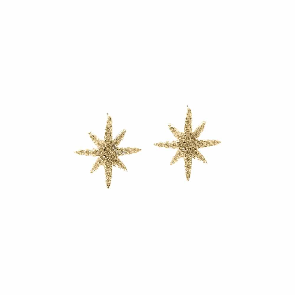 Boucles d'oreilles argent dore petite étoile serti 3