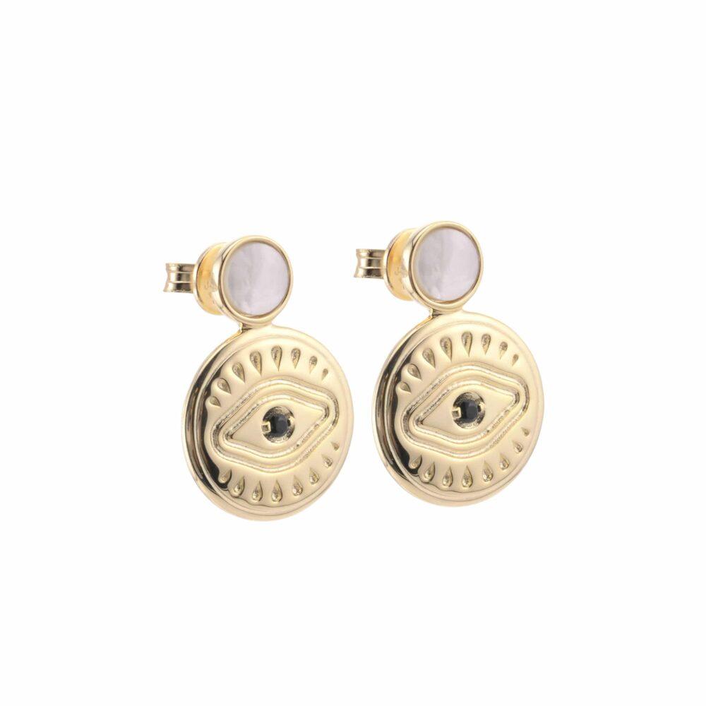 Boucles d'oreilles argent doré sarah nacre blanche 4