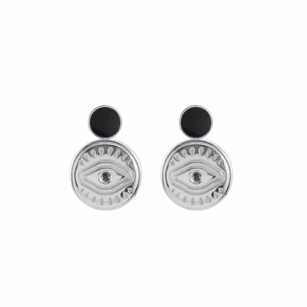 Boucles d'oreilles argent sarah pierre onyx 3