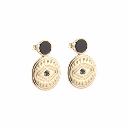 Sarah black onyx silver gold earrings 4