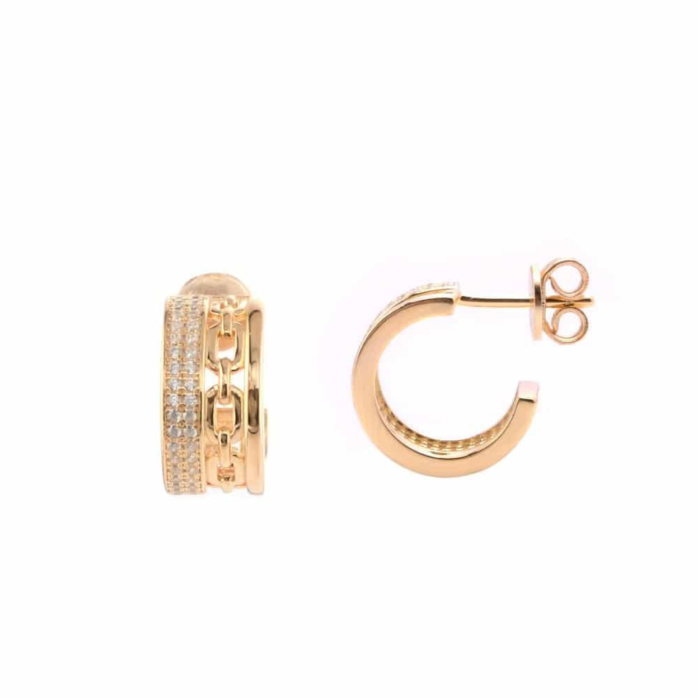 Boucles d'oreilles argent doré Sissi sertie de zirconiums blanc 1