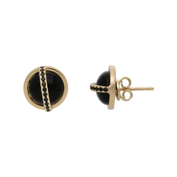 Boucles d'oreilles argent doré sphère noire sertie 1