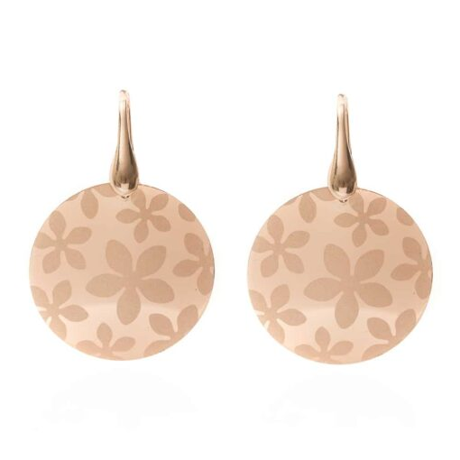 Silver earrings round shape rose gold 3
