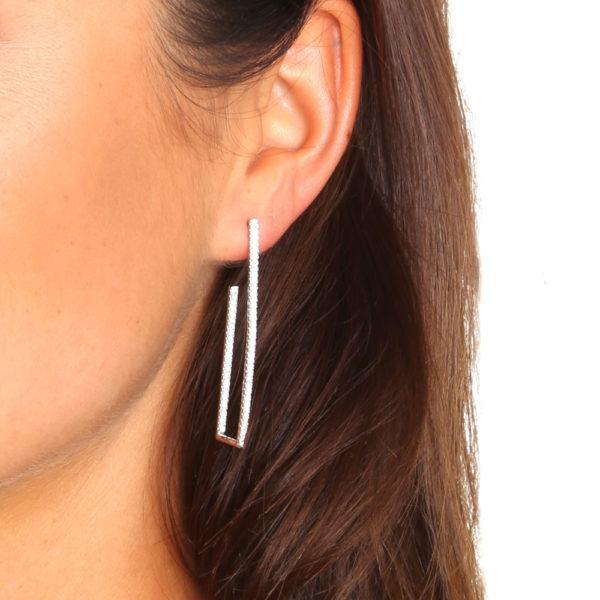 Boucles d'oreilles géométriques rose 2