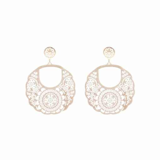 Silver earrings with golden hoop pattern 3