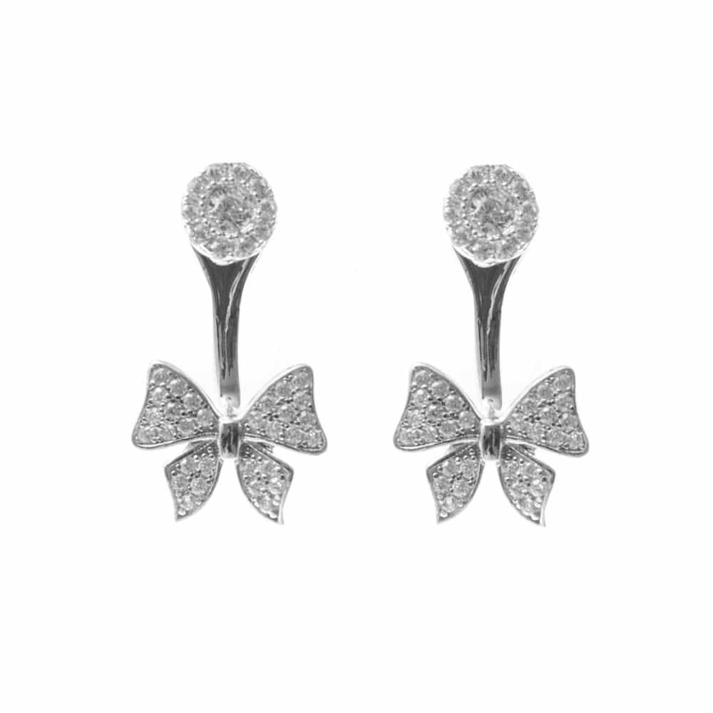 Boucles d'oreilles argent noeux rhodie 3