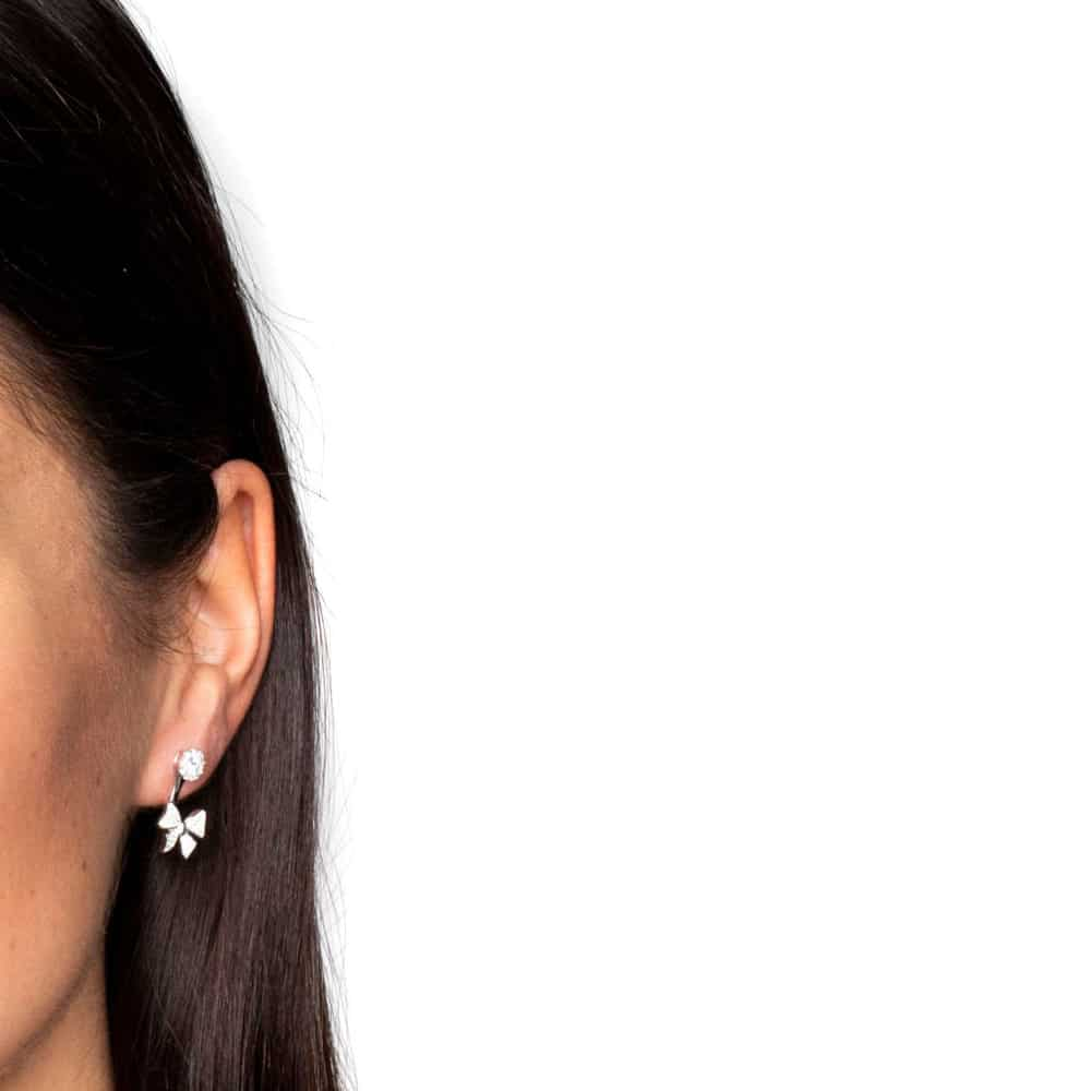 Boucles d'oreilles argent noeux rhodie 4