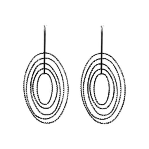 Black silver diamond earrings six circles 3