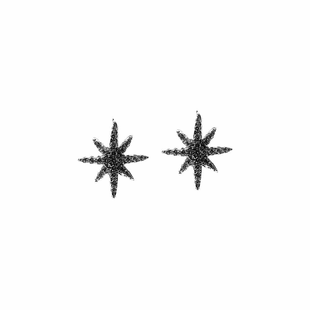 Boucles d'oreilles argent noir petite étoile serti 3