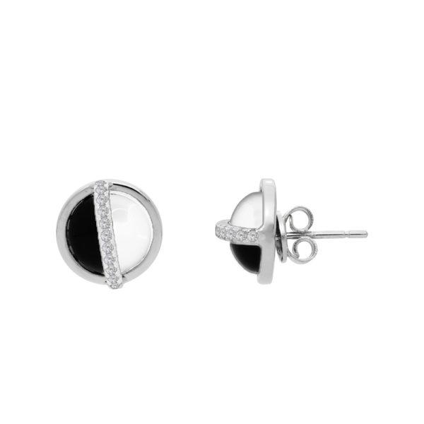 Boucles d'oreilles argent rhodier sphère noire et blanche sertie 1