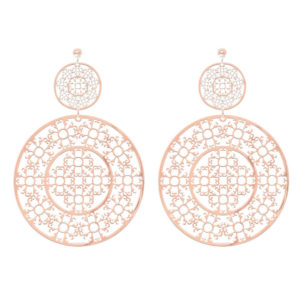 圆形银耳环,配以粉红色asteque图案4
