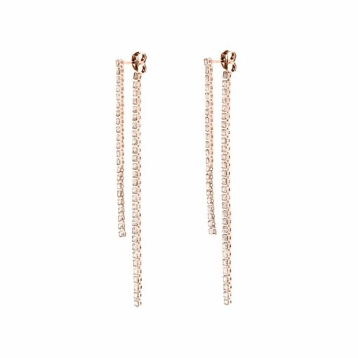 2 row waterfall pink silver earrings with white zircon 3