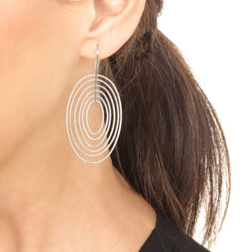 Black silver diamond earrings six circles 5