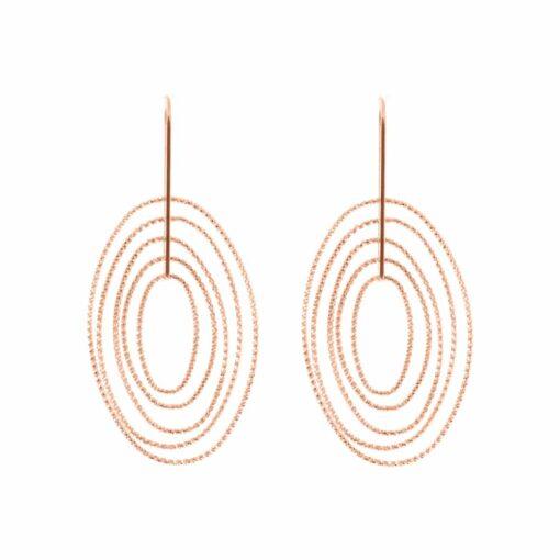 Boucles d'oreilles argent rose diamanté six cercles 3