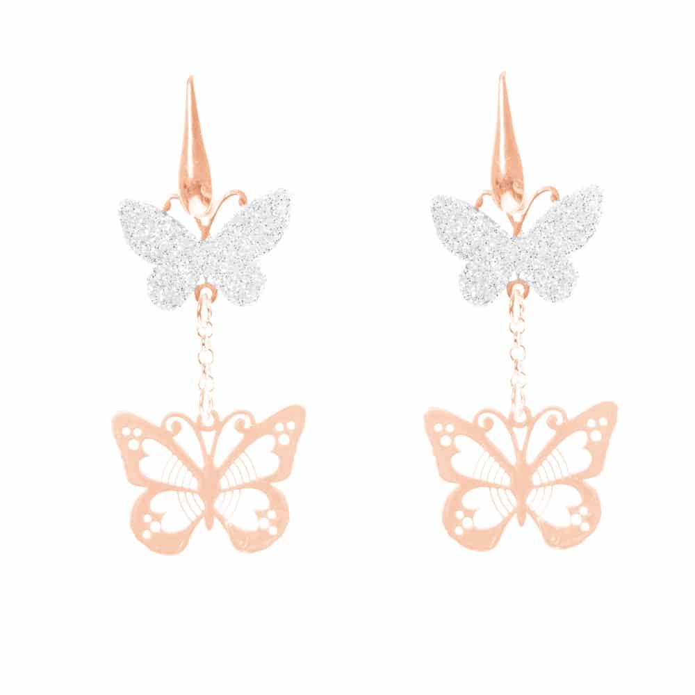 Boucles d'oreilles argent rose papillon scintillant argent 2