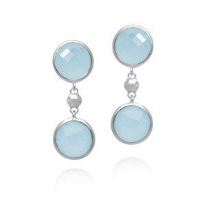 Boucles d'oreilles argent valentine rhodié cristal bleu ciel 8