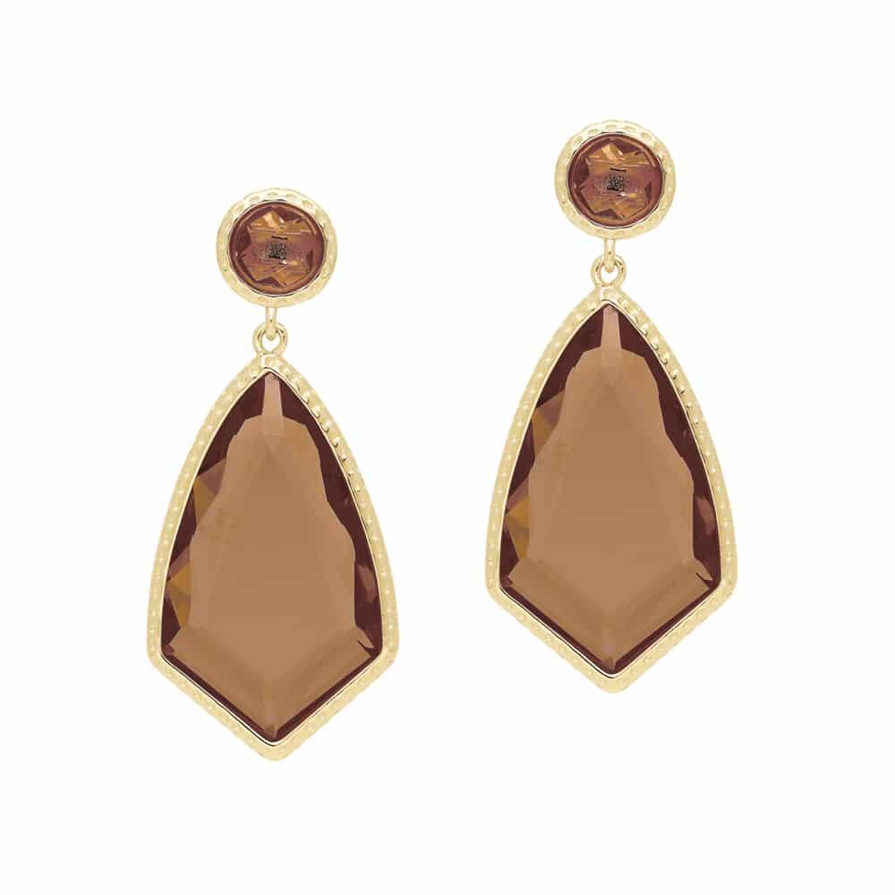 Boucles d'oreilles blason doré brun 2