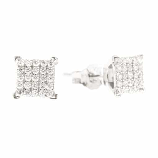 Silver square earrings with zircon stone 3