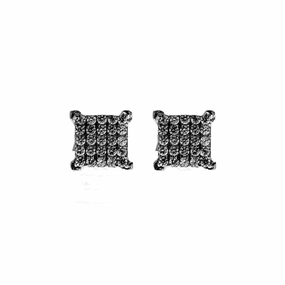 Boucles d'oreilles carré argent noir avec pierre de zircon 3