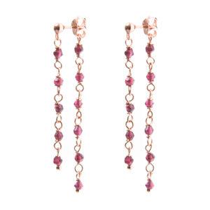 Boucles d'oreilles chaînes perlées améthyste 7