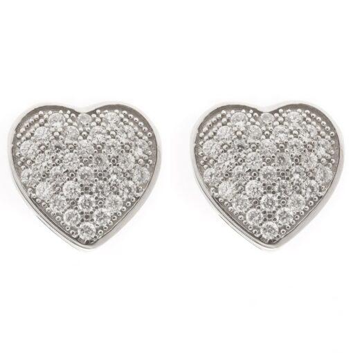 Silver heart earrings with zircon stones 3