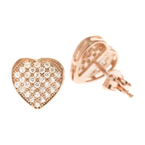 Pink heart earrings with zircon stones 4