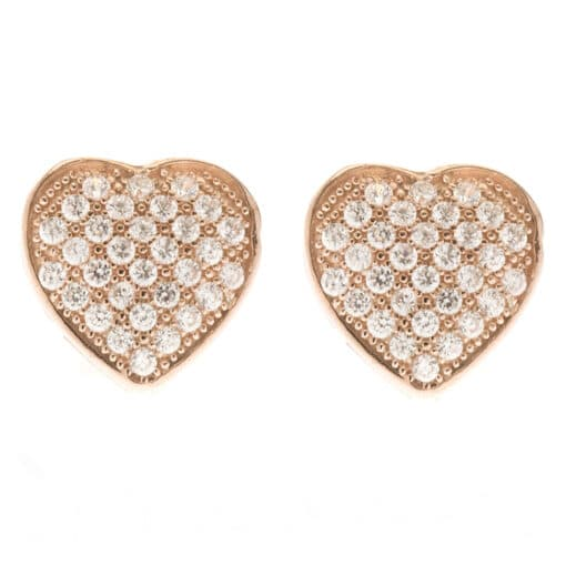 Pink heart earrings with zircon stones 3