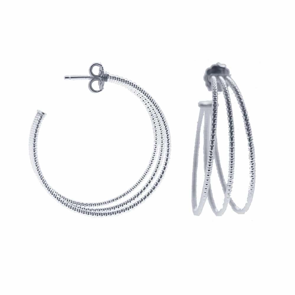 Boucles d'oreilles créoles trois anneaux moyen modèle argent rhodié diamanté Helena 1