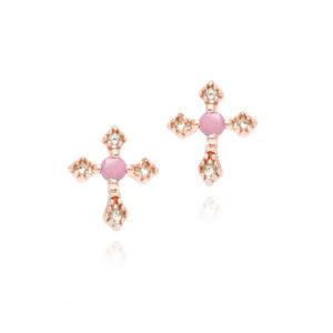 粉红银耳环配粉红色石十字架5