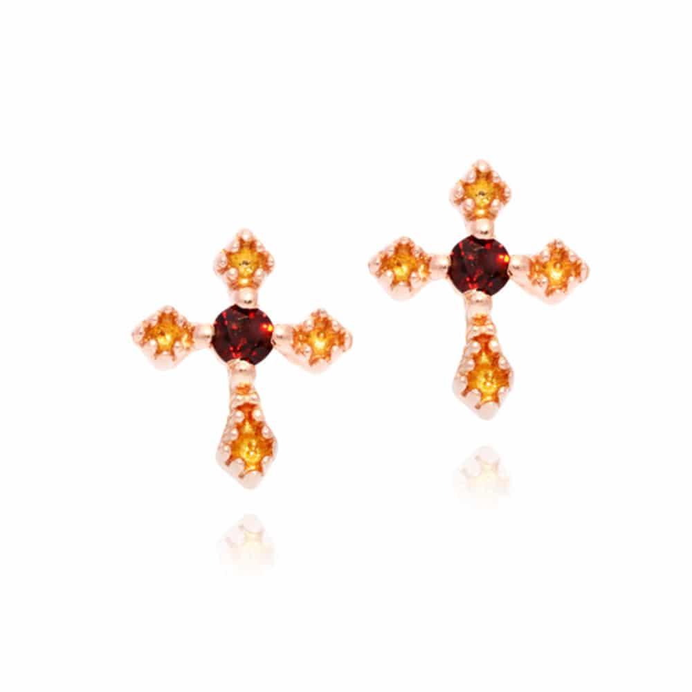 Boucles d'oreilles croix rose pierre rouge grenat 3
