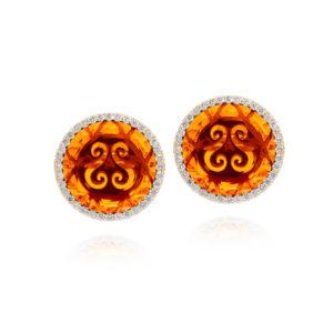 金盘橙色宝石耳环4