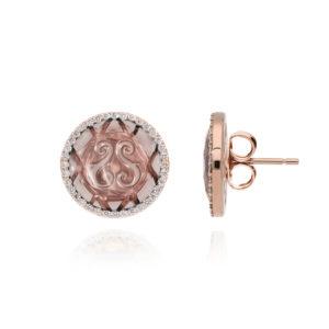 粉色粉石圆盘耳环8