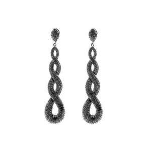 Boucles d'oreilles éternité argent noire 5