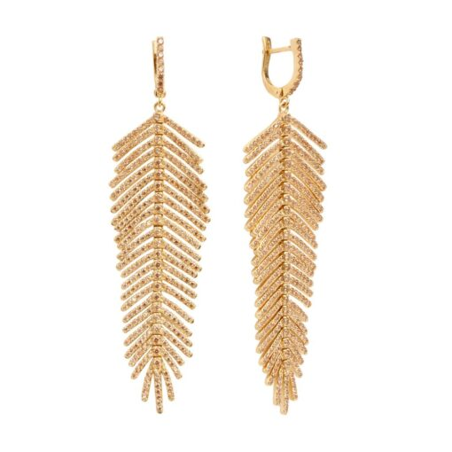 Gold feather earrings 3