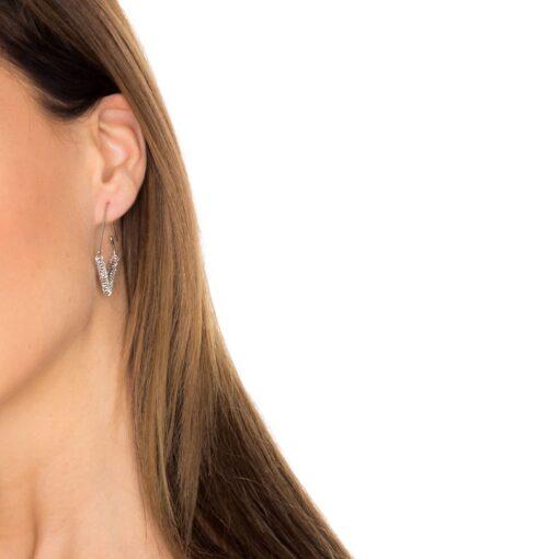 Boucles d'oreilles losange et anneaux rhodié 4