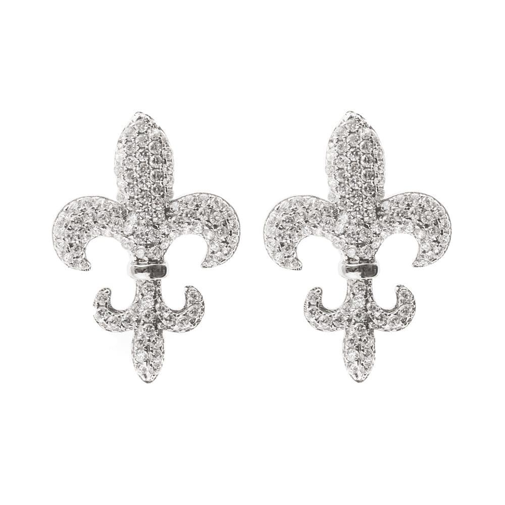Boucles d'oreilles lys royal pierre blanche 2