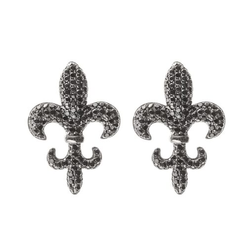 Royal lily black stone earrings 2